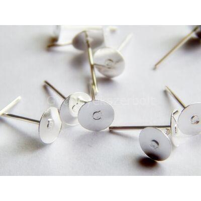 100 db ezüst beszúrós fülbevaló alap 6 mm