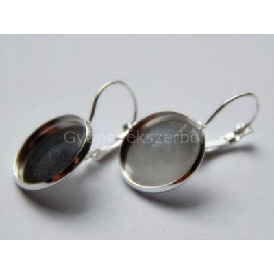 Ezüst kaboson fülbevaló alap 16 mm