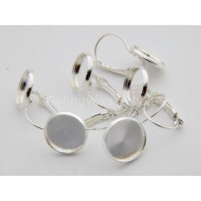 Ezüst kaboson fülbevaló alap 12 mm