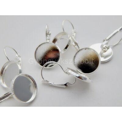 Ezüst kaboson fülbevaló alap 14 mm