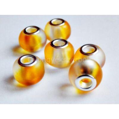 Sárga-fehér gumírozott PANDORA üveggyöngy