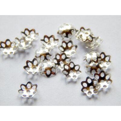 100 db ezüst daisy gyöngykupak 6mm