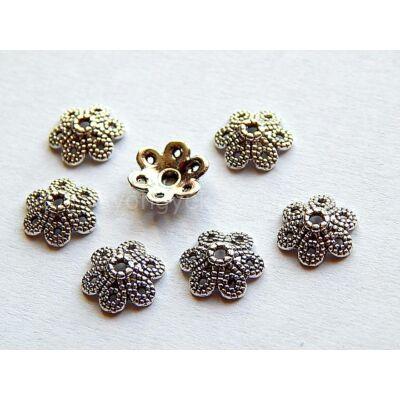 Antik ezüst hatszirmú virág gyöngykupak 10 mm