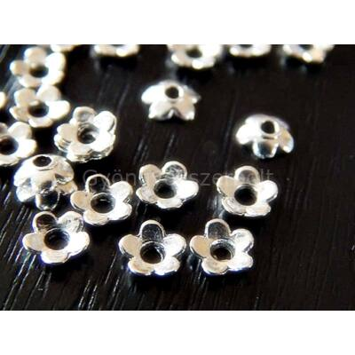 20 db antik ezüst virág gyöngykupak 6mm