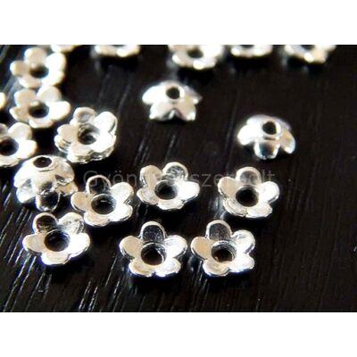 100 db antik ezüst virág gyöngykupak 6mm