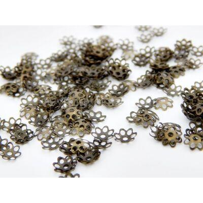 100 db bronz daisy gyöngykupak 6mm