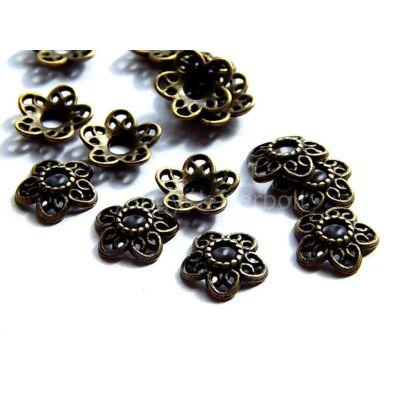 Bronz ötszirmú virág gyöngykupak 12 mm