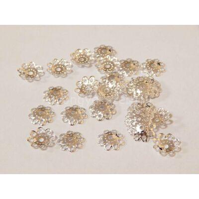 100 db ezüst daisy gyöngykupak 10mm
