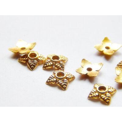 20 db arany tibeti stílusú falevél gyöngykupak 6mm