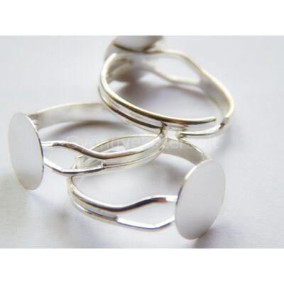 Ezüst íves tányéros gyűrűalap 10 mm