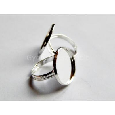 Ezüst lencsés gyűrűalap 18 mm