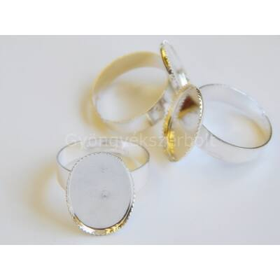 Ezüst ovális lencsés gyűrűalap 13x18 mm