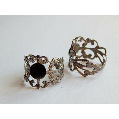 Fekete indás ragasztható gyűrűalap 8 mm