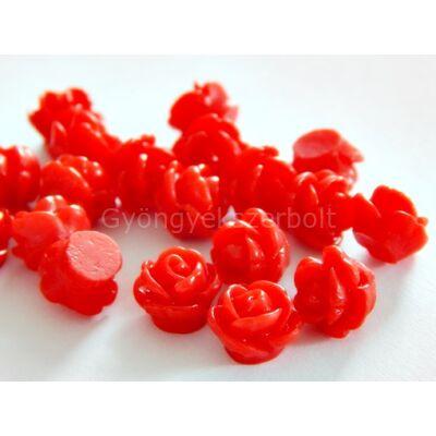 Piros virág gyantagyöngy 9x7 mm