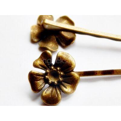 Bronz virág alakú hajcsat alap 60 mm