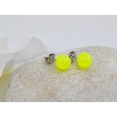 Neonsárga gömb orvosi acél fülbevaló
