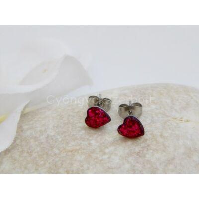 Piros szívecske orvosi acél fülbevaló