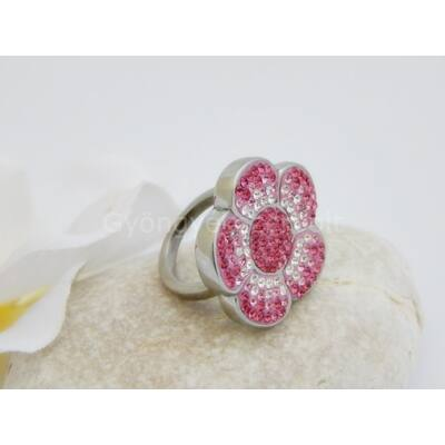 Pink strasszos virág orvosi acél gyűrű 17-es