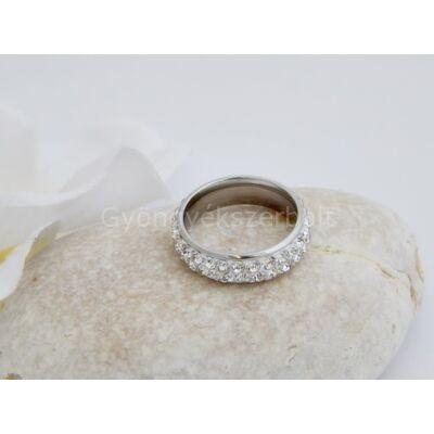 Clear strasszos orvosi acél gyűrű 17-es