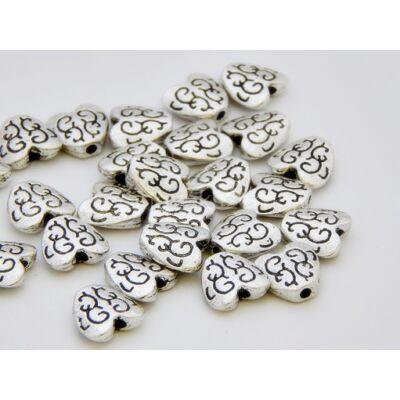 Antik ezüst szív köztes 10 mm