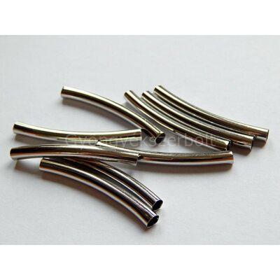 Antik ezüst íves sima cső köztes 40x3.5 mm