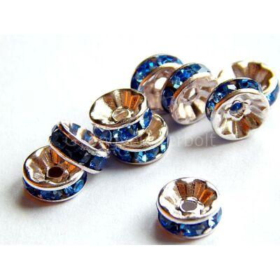 Ezüst rondelle köztes A 6 mm light sapphire