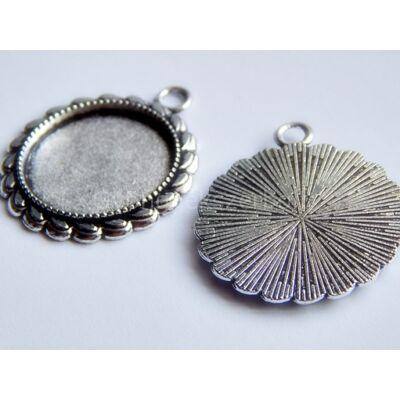 Antik ezüst babér kaboson alap 20 mm