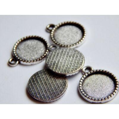 Antik ezüst cirádás kaboson alap 12 mm