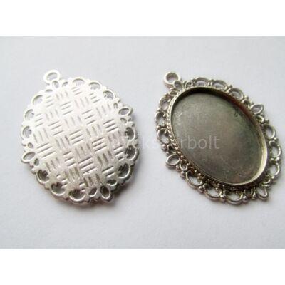 Antik ezüst díszített ovális kaboson alap 18x25