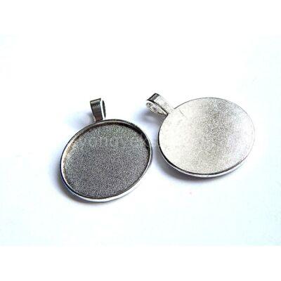 Antik ezüst egy oldalas kör kaboson alap 25 mm