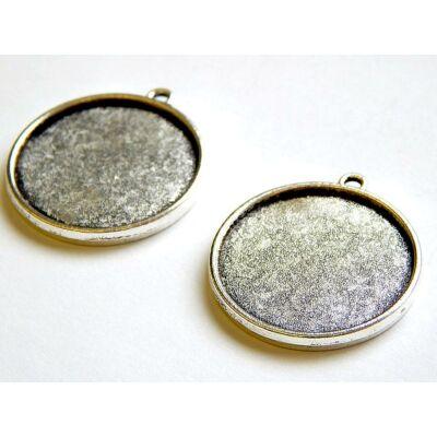 Antik ezüst kétoldalas kör kaboson alap 25 mm