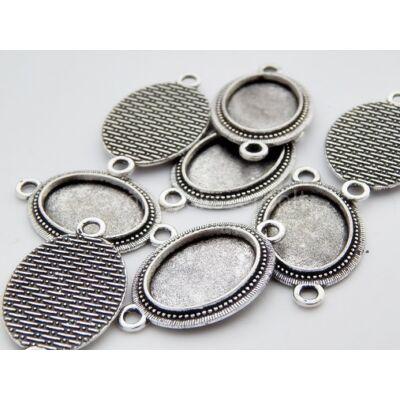 Antik ezüst keretes kaboson összekötő alap 13x18 mm