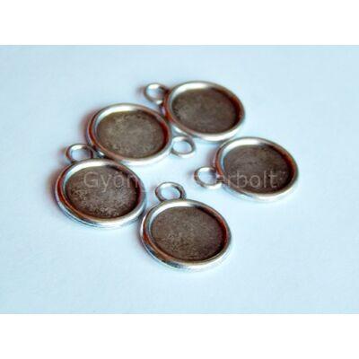 Antik ezüst kétoldalas kör kaboson alap 11 mm