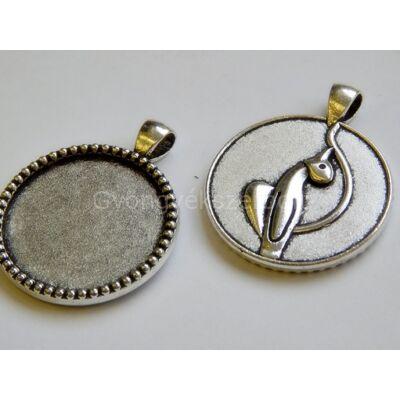 Antik ezüst macska kaboson alap 30 mm