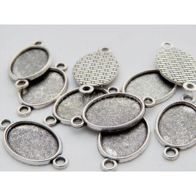 Antik ezüst ovális kaboson összekötő alap 13x18 mm