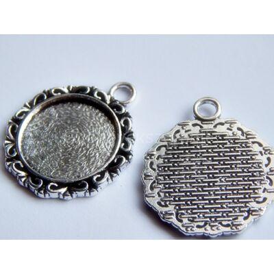Antik ezüst szirom foglalatú kaboson alap 18 mm