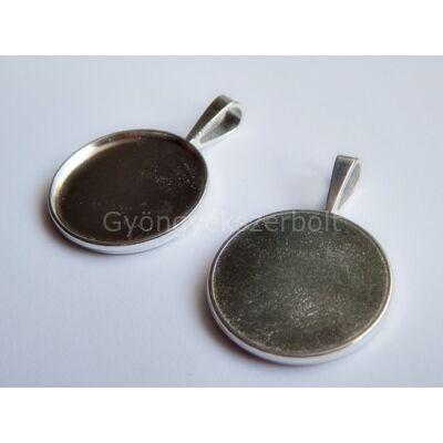 Ezüst egy oldalas kör kaboson alap 25 mm