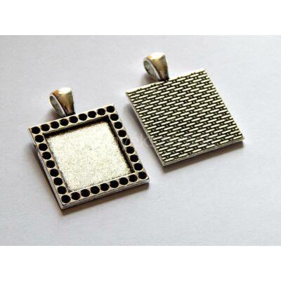 Antik ezüst négyzet kaboson alap 18x18