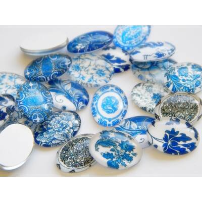 Blue flowers üveg kaboson 18x13 mm