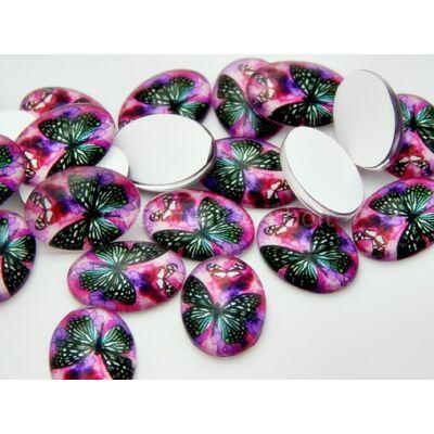 Orchidea butterfly üveg kaboson 18x13 mm