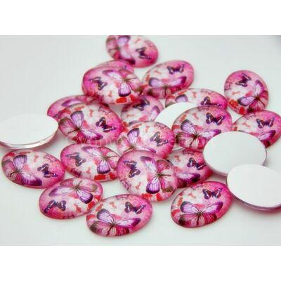 Pink butterfly üveg kaboson 18x13 mm