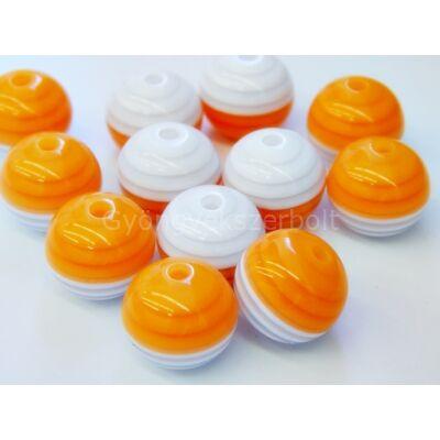 Narancs-fehér csíkos műanyag gyöngy