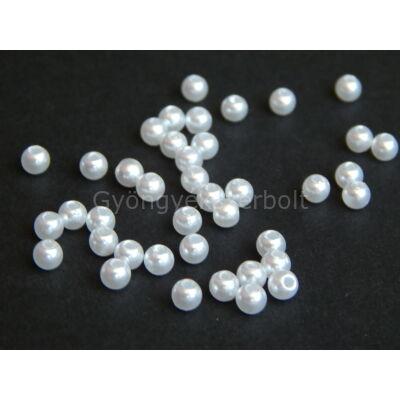 40 db fehér műanyag TEKLA gyöngy 4 mm