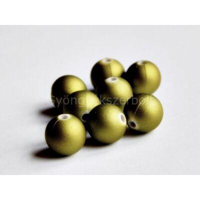 Olíva matt festett műanyag gyöngy