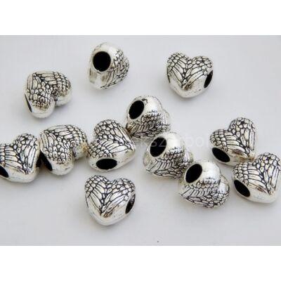 Antik ezüst angyalszív PARACORD gyöngy