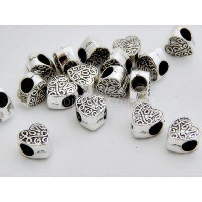 Antik ezüst LOVE szív PARACORD gyöngy