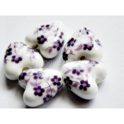 Dusty lavender szív porcelán gyöngy 14 mm