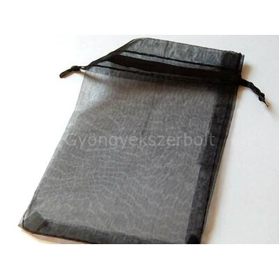 Fekete organza tasak 7x8 cm