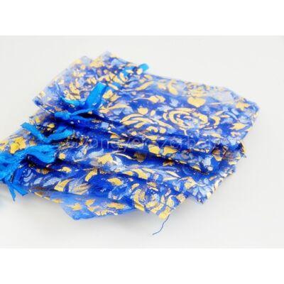 Kék virágos organza tasak 7x8 cm