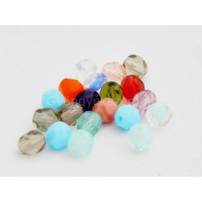 Mix CSEH csiszolt gömb üveggyöngy 6 mm